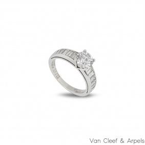 Van Cleef & Arpels Round Brilliant Cut Diamond Ring in Platinum 1.03ct